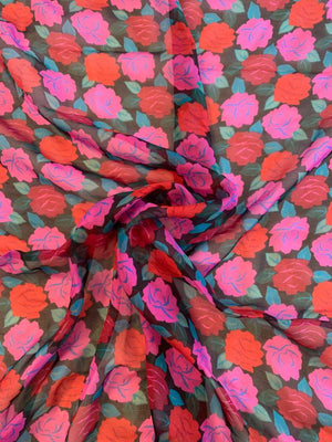 Floral Printed Silk Chiffon - Pink / Red / Teal / Black