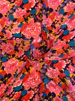 Floral Printed Silk Georgette - Pink / Red / Purple / Tangerine
