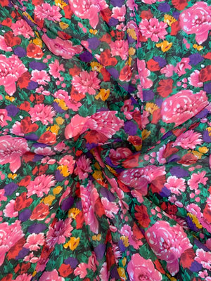 Floral Printed Silk Chiffon - Pink / Green / Purple / Tangerine / Red