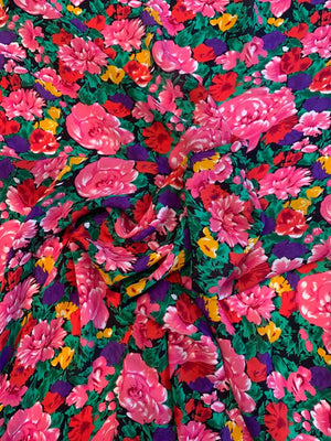 Floral Printed Slk Georgette - Pink / Green / Purple / Tangerine / Red