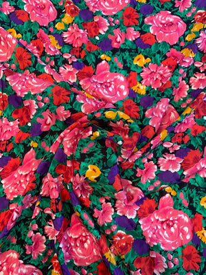Floral Printed Silk Jacquard - Pink / Green / Purple / Tangerine / Red