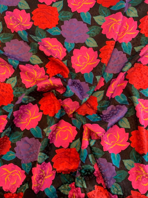 Floral Printed Silk Jacquard - Pink / Purple / Red / Teal / Black