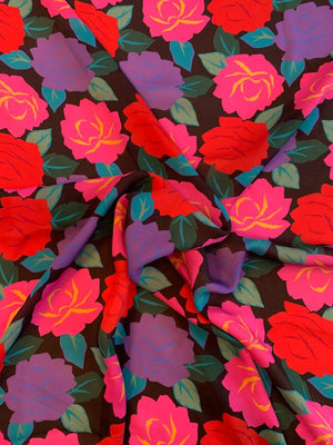Floral Printed Silk Georgette - Pink / Purple / Red / Teal / Black