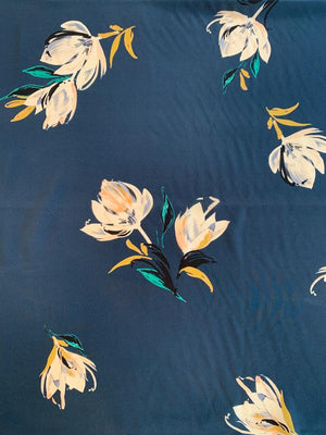 Soothing Floral Printed Silk Crepe de Chine - Navy / White / Mustard Yellow / Teal