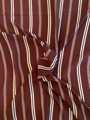 Horizontal Striped Lightweight Silk Crepe de Chine - Wine / Sky Blue