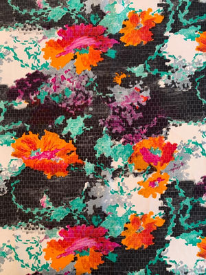 Abstract Floral on Stones Printed Polyester Shirting - Multicolor