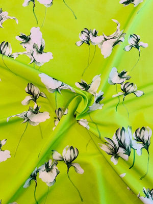 Floral Stems Cotton and Silk Faille - Lime Green / White / Forest Green