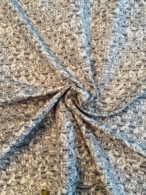 Artsy Abstract Cotton and Silk Faille - Dark Grey / Light Grey