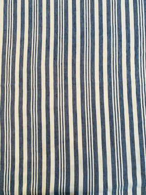 Vertical Striped Cotton Denim - Indigo Blue / Ivory