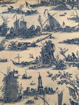 Toile Printed Cotton Sheeting - Blue / Cream