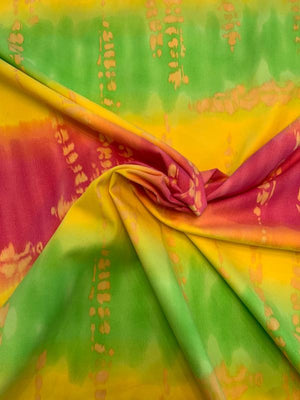 Italian Tie-Dye Printed Brushed Stretch Cotton Twill - Yellow / Green / Hot Pink
