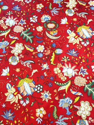Holiday Floral Printed Cotton Sateen - Red / Multicolor