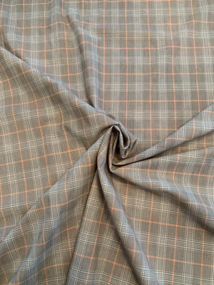 Glen Plaid Yarn-Dyed Cotton Shirting - Brown / Peach