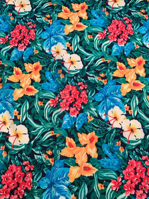 Tropical Floral Printed Cotton Lawn - Multicolor