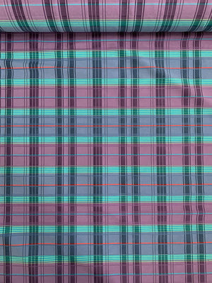 Plaid Stretch Yarn-Dyed Cotton Shirting with Textured Pinstripe - Purple / Blue