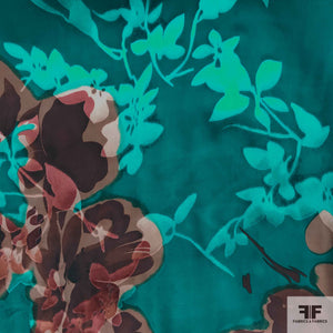 Floral Burnout Chiffon - Blue/Brown - Fabrics & Fabrics NY