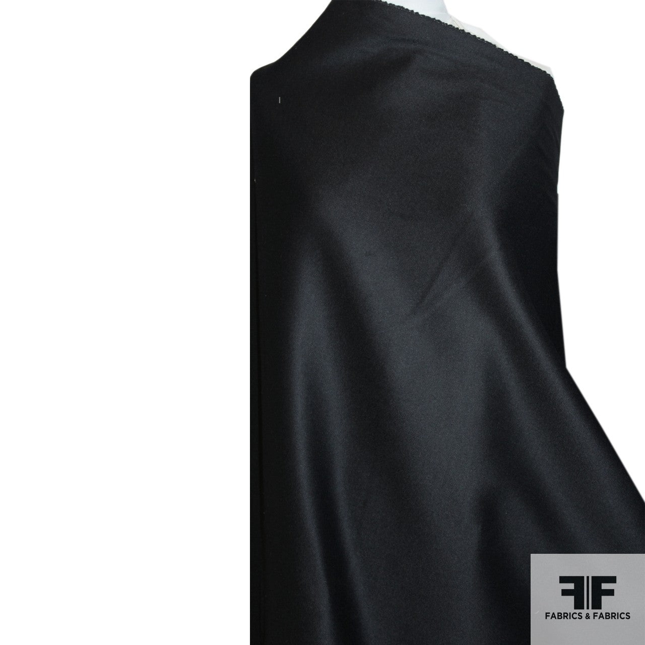 Double-Faced Wool Coating - Black - Fabrics & Fabrics NY