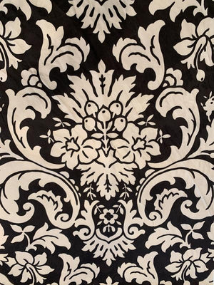 Large Damask Printed Floral Cotton Jacquard - Brown / Beige