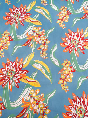 Tropical Floral Printed Stretch Cotton Sateen - Blue / Green / Red / Orange / White