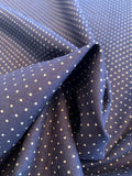 Pin Dot Printed Cotton Broadcloth - Navy / Tan