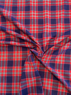 Plaid Yarn-Dyed Cotton Shirting - Red / Navy / White