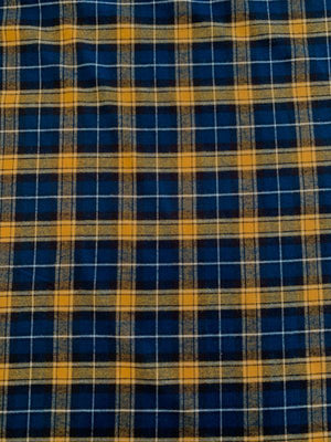 Plaid Flannel Yarn-Dyed Cotton Shirting - Yellow / Teal