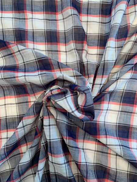 Plaid Cotton Voile - Navy / White / Red