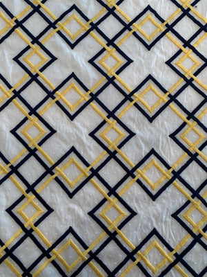 Geometric Embroidered Cotton - White / Navy / Yellow