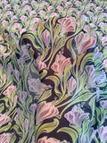 Field of Flowers Printed Silk Chiffon - Purple / Green / Black / White