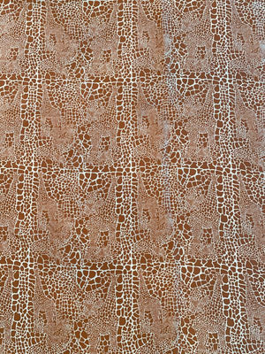 Hidden Giraffes Printed Silk Habotai - Caramel Brown / White