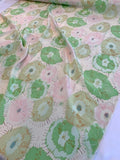 Watercolor Floral Splotches Printed Silk Crepe de Chine - Pale Pink / Pale Green / Tan