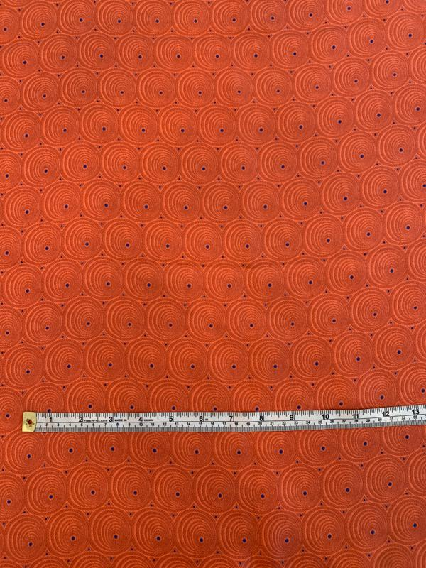 Art Deco Circles and Dots Printed Fine Silk Twill - Brick Orange / Blue