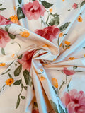 Gentle Watercolor Floral Printed Fine Silk Shantung - Baby Pink / Dark Pink / Green / Orange