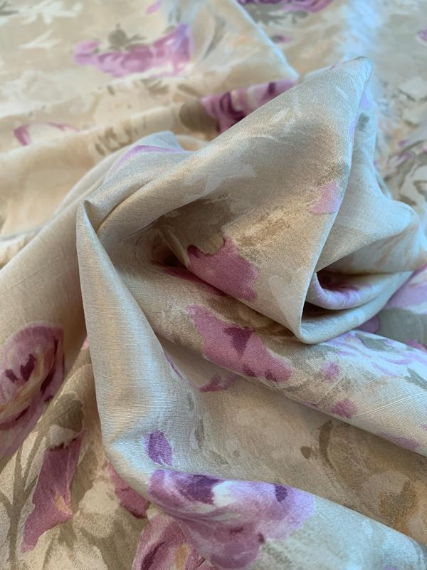 Ralph Lauren Floral Bouquets Printed Lightweight Silk Shantung - Tan / Olive / Purple