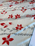 Diagonal Vines and Flowers Printed Silk Fuji - Off-White / Red / Black