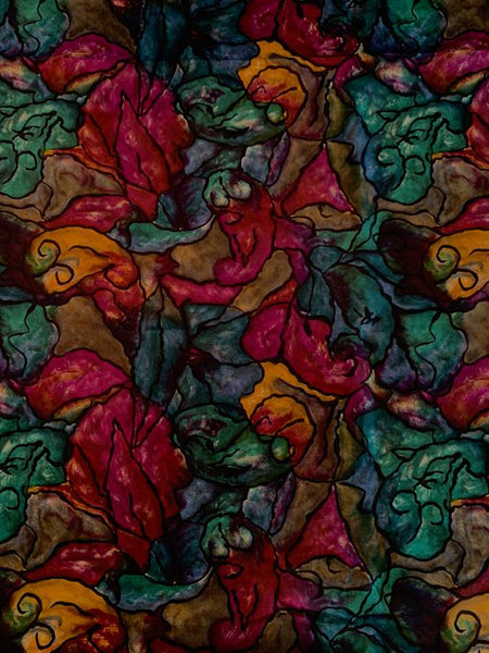Italian Abstract Printed Fine Silk Twill - Purple / Teal / Antique Gold / Black