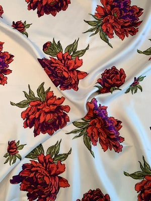 Valiant Floral Printed Fine Silk Twill - Coral / Magenta / Olive / Off-White