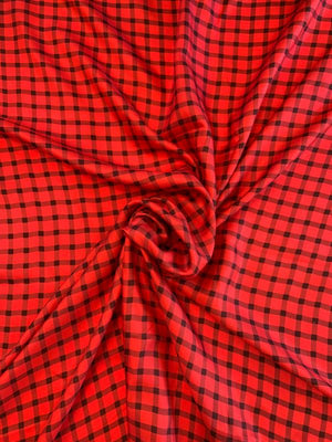 Gingham Check Printed Fine Silk Twill - Red / Black