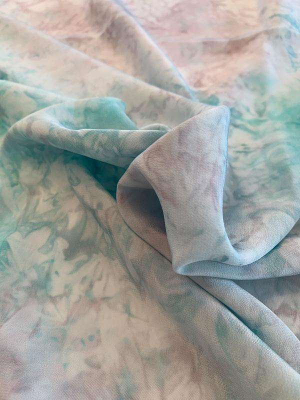 Abstract Tie-Dye Printed Silk Crepe de Chine - Turquoise / White / Grey