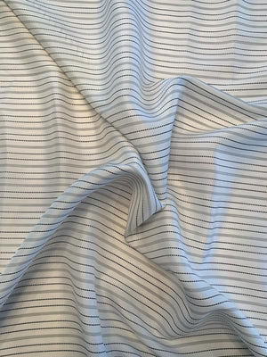 Italian Horizontal Stitched Striped Silk Habotai - Off-White / Black