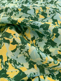 Abstract Printed Silk Crepe de Chine - Yellow / Green / Light Turquoise