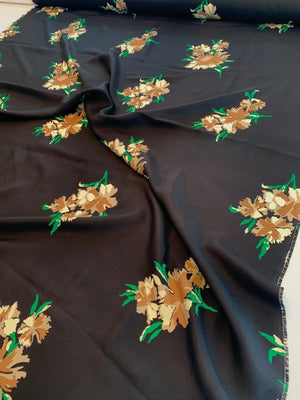 Romantic Floral Printed Fine Silk Twill - Black / Tan / Mocha / Green