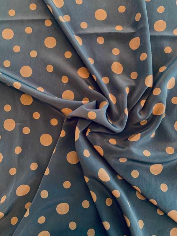 Floating Polka Dots Printed Silk Crepe de Chine - Navy / Brown