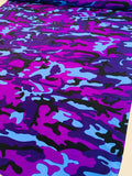 Camouflage Printed Silk Crepe de Chine - Purple / Violet / Periwinkle