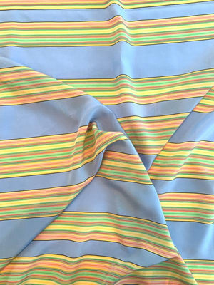 Horizontal Multi Striped Printed Silk Crepe de Chine - Multicolor