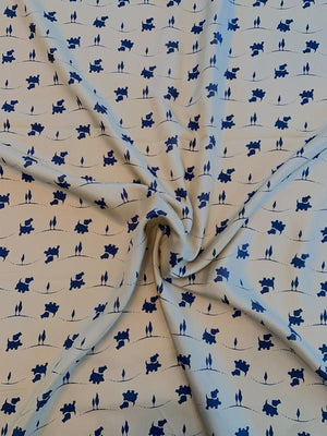 Puppy Dog Printed Silk Habotai - Flaxen Gold / Navy