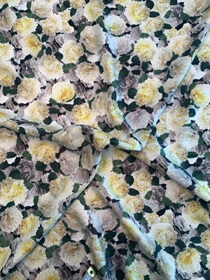 Romantic Floral Printed Silk Twill - Yellow / Grey / Green