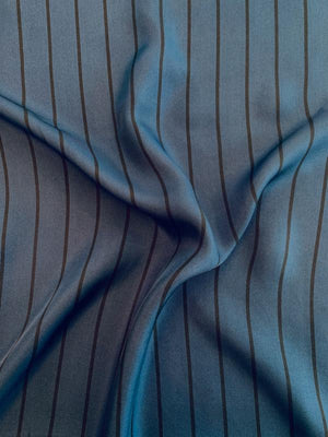 Vertical Striped Printed Fine Silk Twill - Space Navy / Black