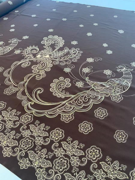 Borderprint Bird & Paisley Silk Crepe de Chine - Brown / Cream / Gold