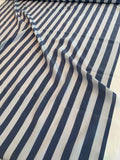 Vertical Striped Printed Silk Crepe de Chine - Cadet Blue / Light Grey